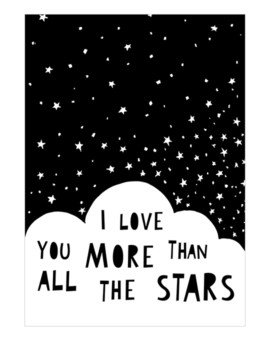 Mini Learners plakat 'I love you more than all the stars'