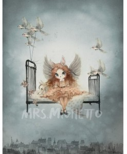 Mrs Mighetto plakat Miss Olivia fra Land of Birds. Hurtig levering!